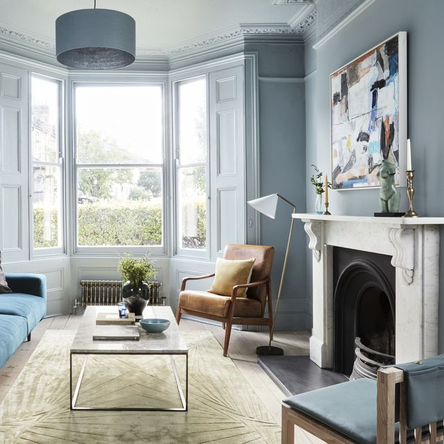 mylands long acre® no102, living room with bay window and blue walls