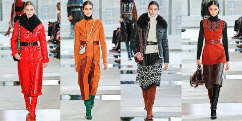 Fashion model, Orange, Clothing, Fashion, Street fashion, Outerwear, Footwear, Winter, Runway, Overcoat,