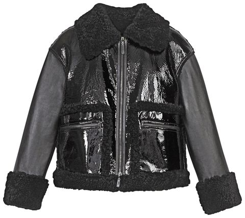 Clothing, Jacket, Outerwear, Black, Leather jacket, Sleeve, Leather, Textile, Top, Fur,