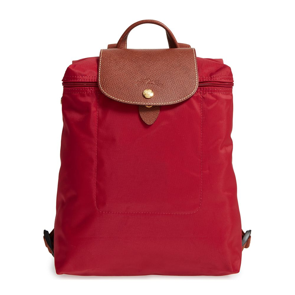 longchamp le pliage red backpack