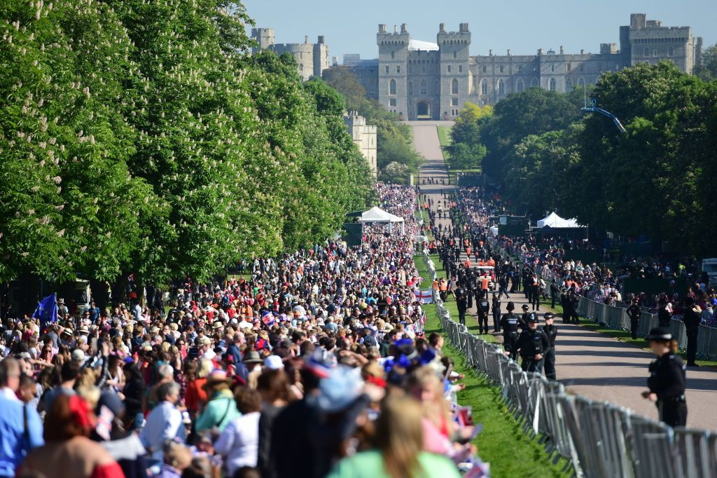 Royal fans line the Long Walk in Windsor ahead of the wedding of Prince Harry and Meghan Markle.