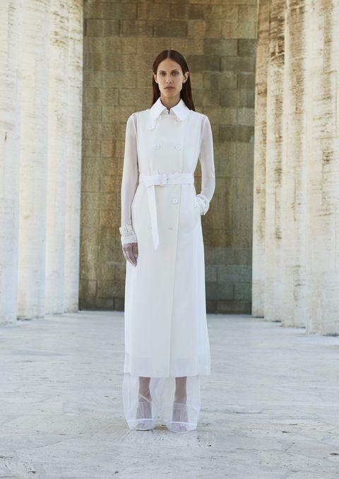 White, Clothing, Photograph, Fashion, Dress, Coat, Trench coat, Street fashion, Neck, Fashion model,