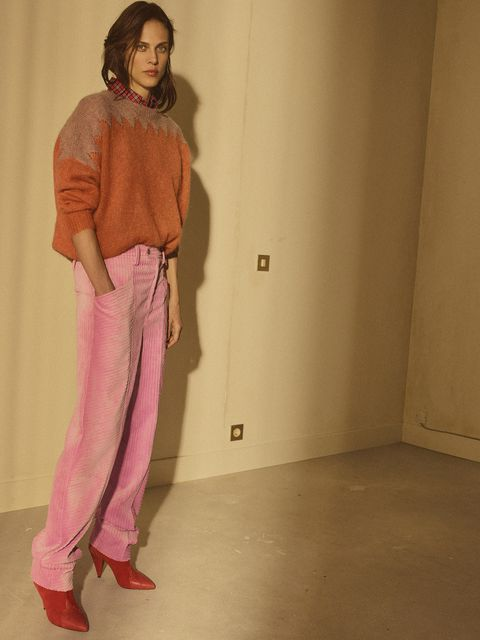 Clothing, Pink, Shoulder, Standing, Fashion, Leg, Pajamas, Jeans, Neck, Trousers,