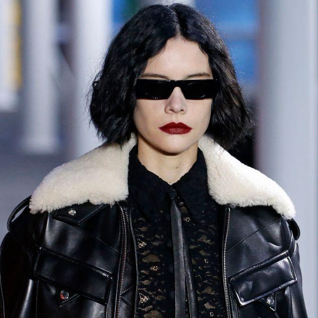Eyewear, Fashion, Leather, Street fashion, Leather jacket, Fashion model, Jacket, Black hair, Glasses, Lip,