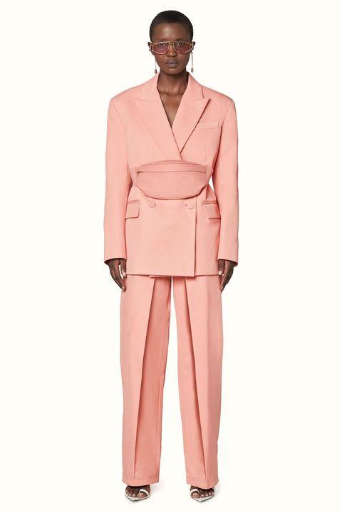 Clothing, Pink, Suit, Pantsuit, Formal wear, Shoulder, Neck, Dress, Outerwear, Tuxedo,
