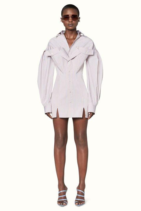 Clothing, White, Sleeve, Outerwear, Fashion, Coat, Dress shirt, Footwear, Dress, Beige,