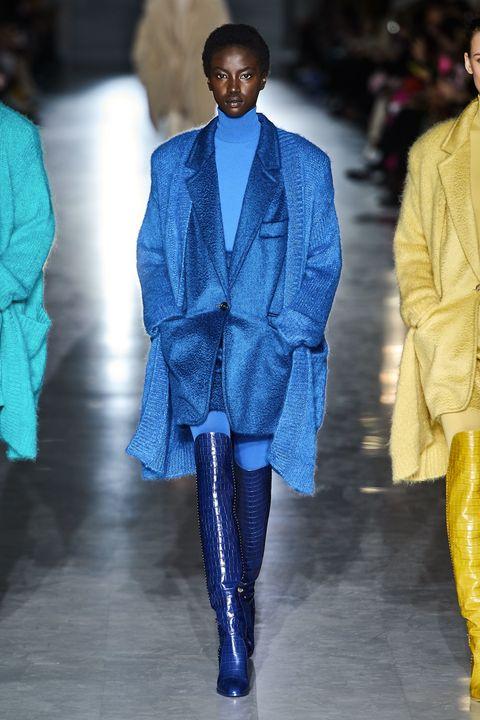 Fashion, Runway, Clothing, Fashion show, Blue, Fashion model, Fashion design, Electric blue, Human, Outerwear,