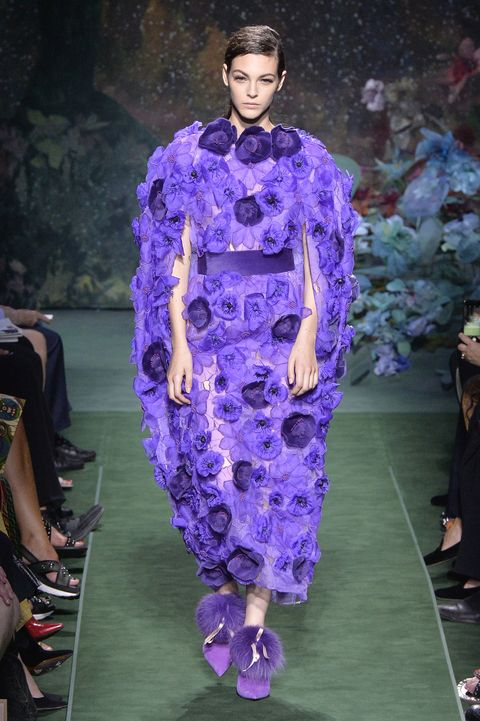 Fashion, Fashion model, Fashion show, Purple, Haute couture, Runway, Lavender, Violet, Fashion design, Event,