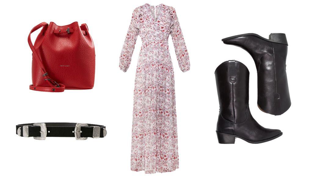 Vestido largo de Marella (334,95 €); botas camperas de Steven Madden (199,95 €); cinturón de Missguided (17,95 €); bolso bandolera de Matt & Nat (114,95 €).