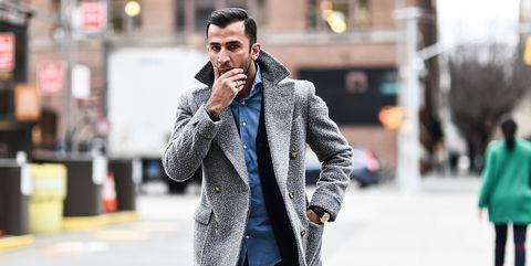 Street fashion, Photograph, Clothing, Fashion, Coat, Snapshot, Outerwear, Overcoat, Fur, Street,