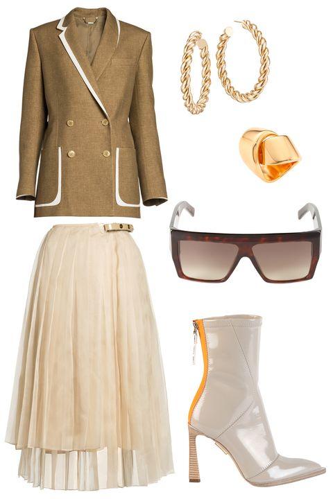 Clothing, White, Yellow, Formal wear, Beige, Suit, Fashion, Outerwear, Dress, Footwear,