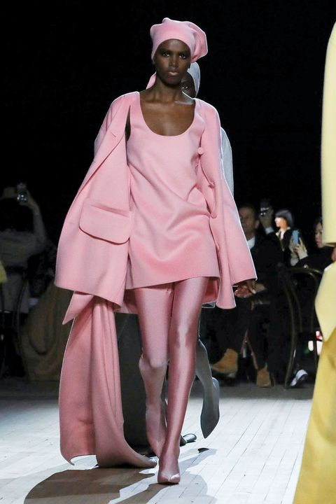 Fashion model, Fashion, Fashion show, Runway, Clothing, Pink, Fashion design, Haute couture, Outerwear, Event,