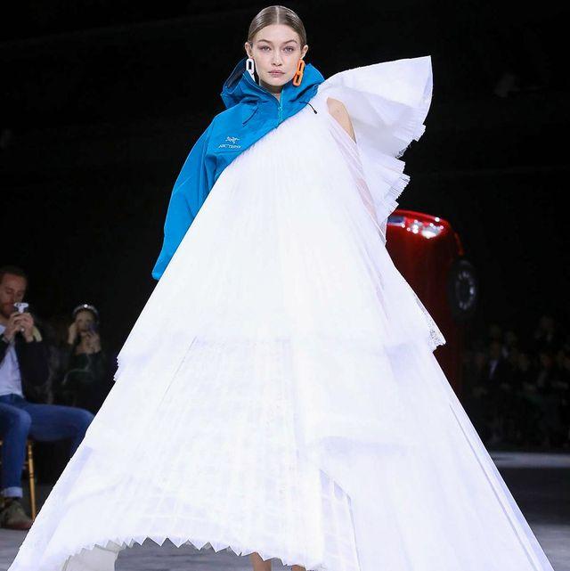 White, Fashion, Dress, Haute couture, Fashion design, Gown, Event, Fashion show, Fun, Costume,