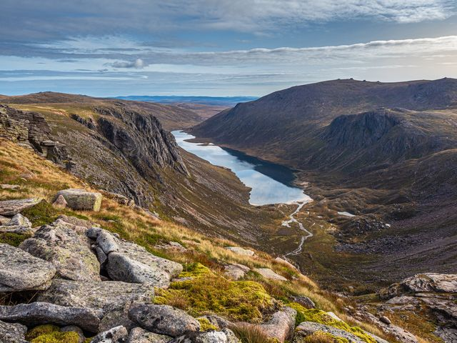 looking out over loch a'an loch avon in the cairngorm national park