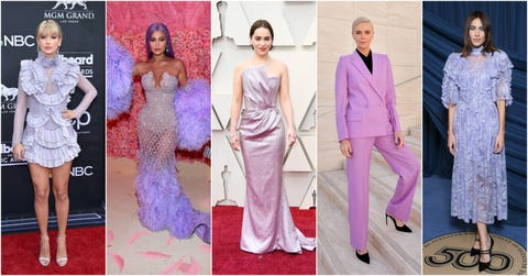 Fashion model, Dress, Clothing, Purple, Gown, Pink, Fashion, Haute couture, Formal wear, Shoulder,
