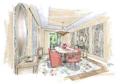 lorna gross kips bay palm beach dining room rendering