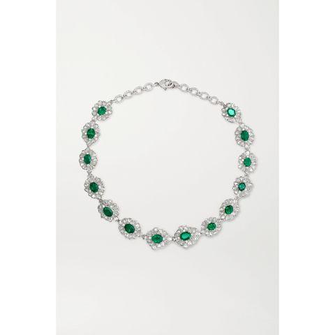 lorraine schwartz 18 karat white gold, diamond and emerald necklace
