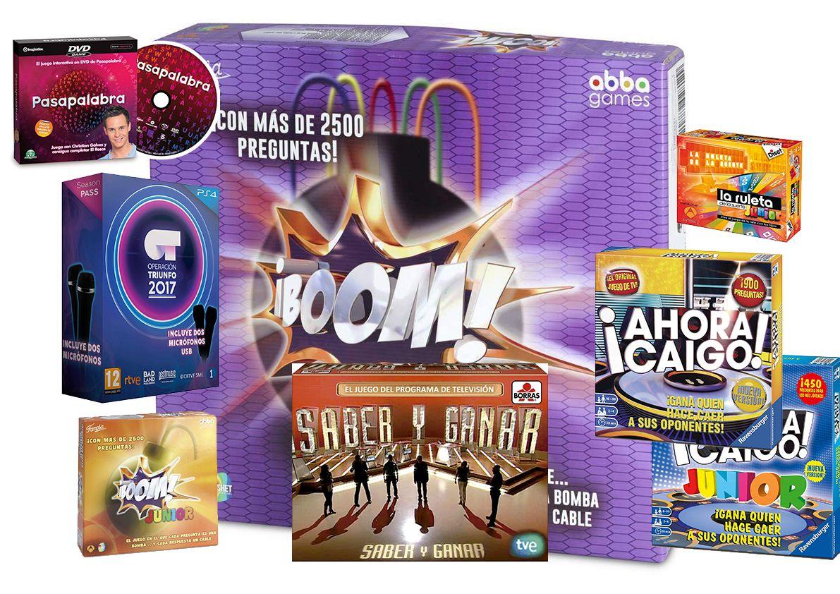 Comprar los juegos de mesa de los concursos de television: Boom, Pasapalabra, Ahora caigo, Saber y ganar, OT, La ruleta de la suerte