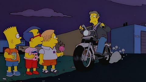bart milhouse y martin ven a skinner huyendo en una moto