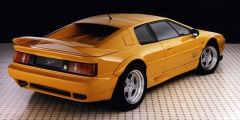 Land vehicle, Vehicle, Car, Sports car, Coupé, Yellow, Lotus esprit, Automotive design, Lotus, Supercar,
