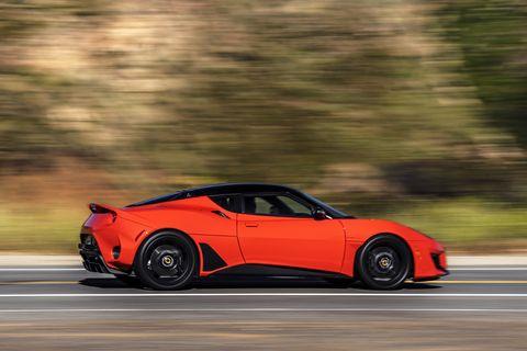 2020 lotus evora gt at speed in orange