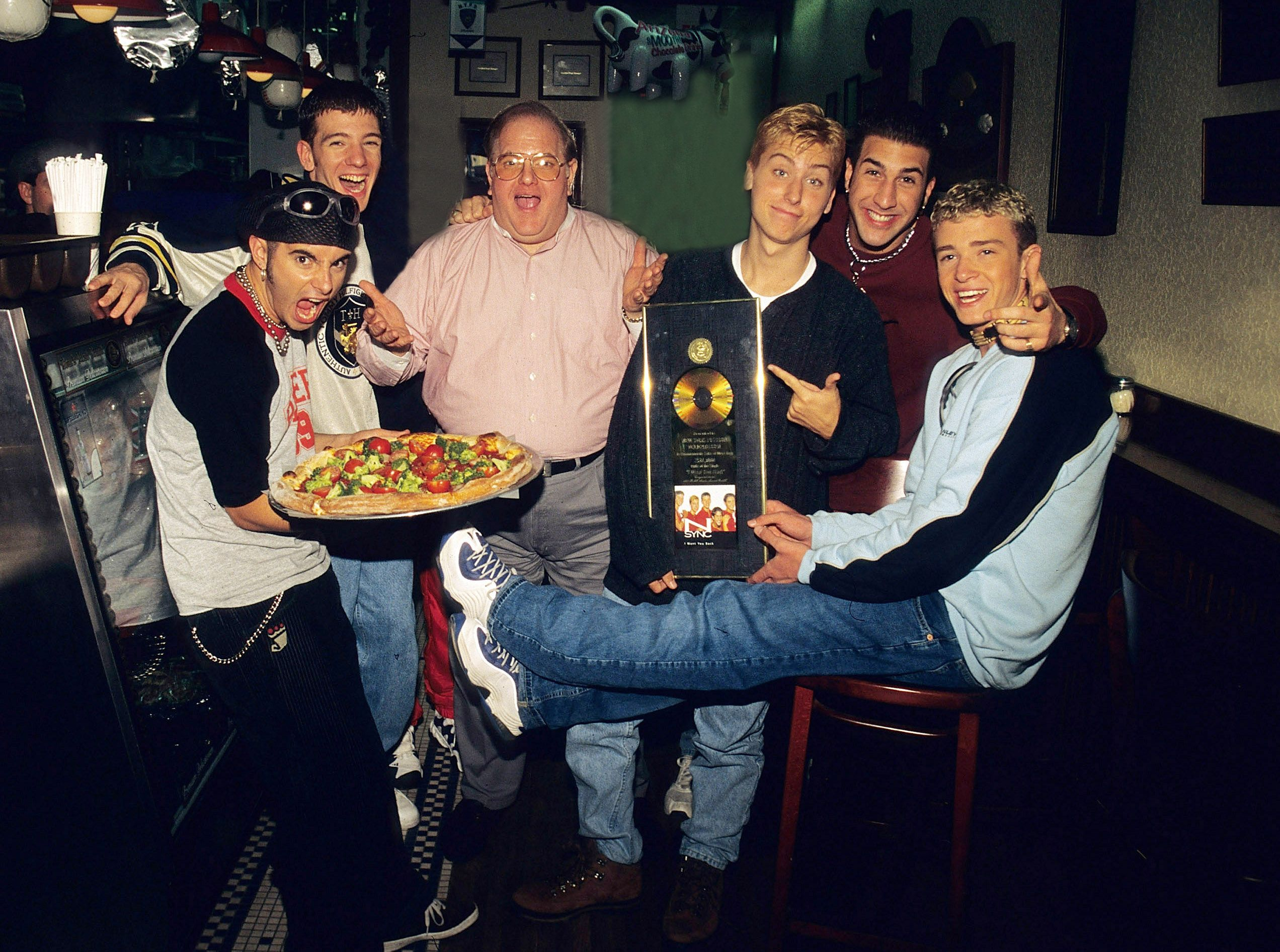 1996: Celebrating the band's success with creator, Lou Pearlman