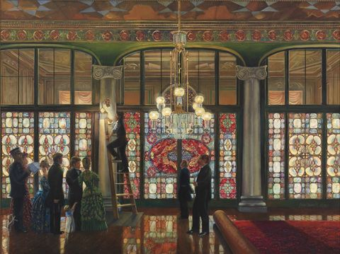 peter waddell's the grand illumination, an 1891 oil painting that showcases louis comfort tiffany's stained glass screen in the white house entrance hall
