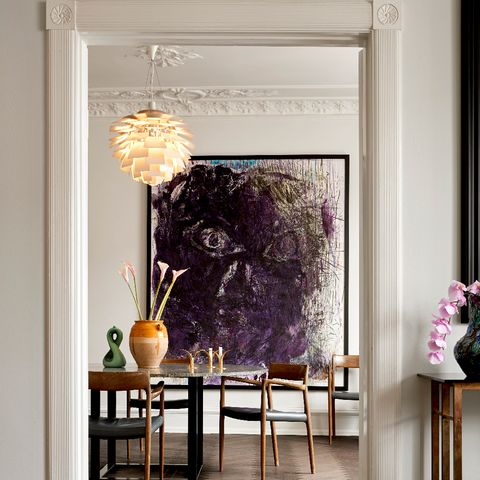 Purple, Room, Violet, Interior design, Yellow, Home, Magenta, Furniture, Material property, Table,