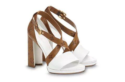 Footwear, Sandal, White, Shoe, High heels, Beige, Slingback, Strap,