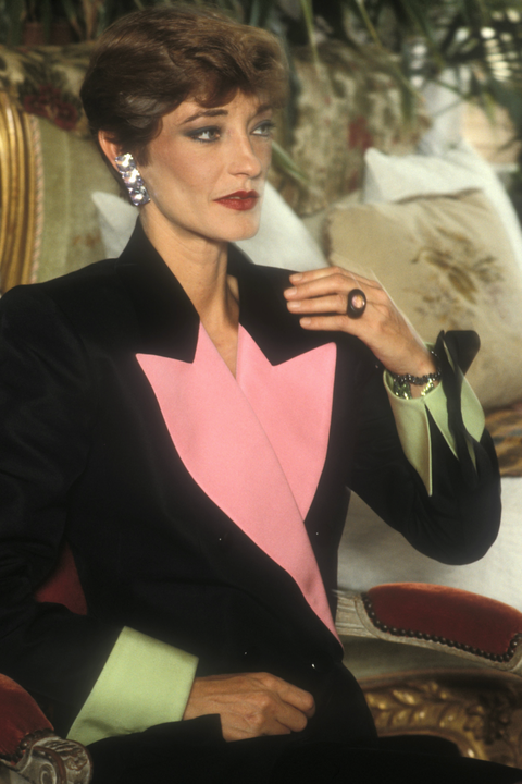 Loulou in an evening suit from the YSL Spring/Summer 1982 Couture collection