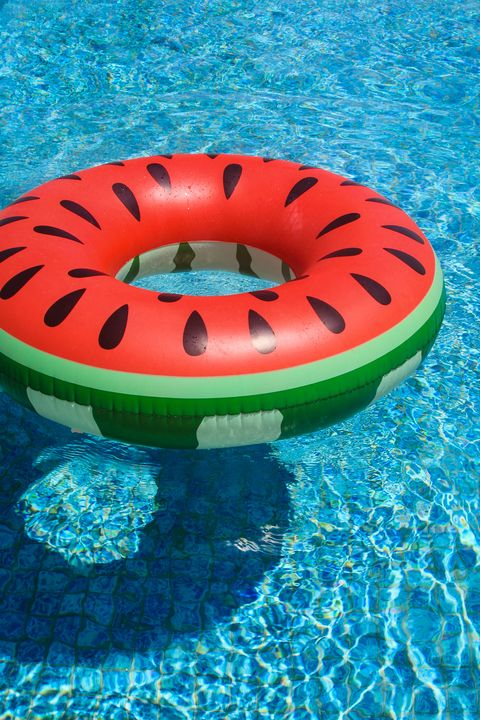 pool float in watermelon design, swimming in the pool