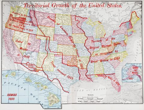 Map from 1898 showing the territorial growth of the United States of America