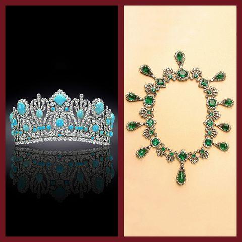 Jewellery, Fashion accessory, Teal, Headpiece, Emerald, Hair accessory, Crown, Gemstone, Headgear, Tiara,