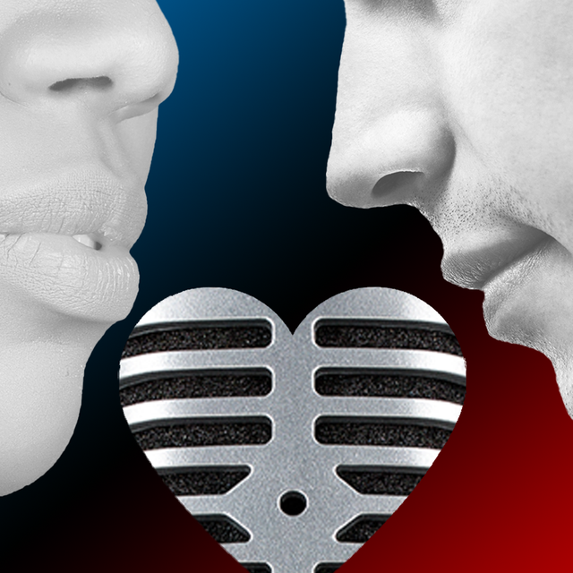 man and woman over heart shaped microphone