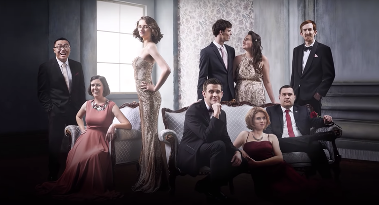 Stars of the new series Love on the Spectrum pose in ballgowns and suits. Used courtesy of Netflix.
