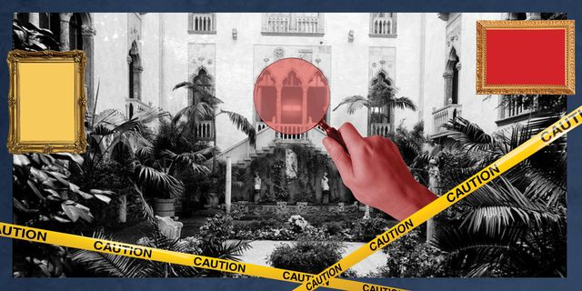 graphic of crime scene over courtyard