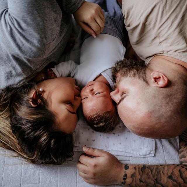 lovely family enjoying day at home