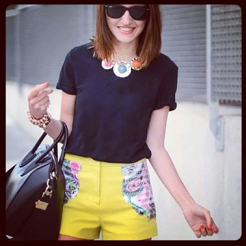 Clothing, Black, Yellow, T-shirt, Waist, Shoulder, Sleeve, Shorts, Fashion, Street fashion,