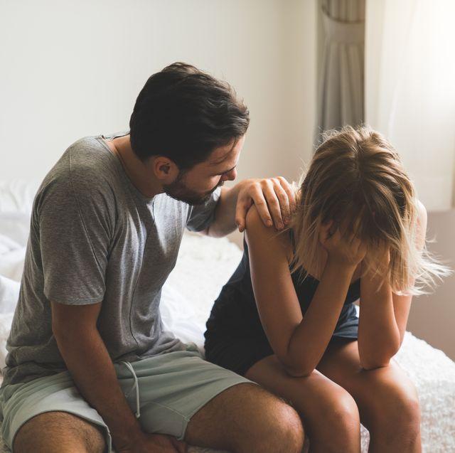 loving husband comfort upset offended wife, caressing and hugging