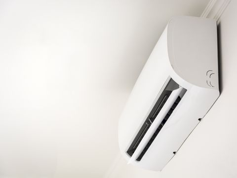 low angle view of air conditioner on wall