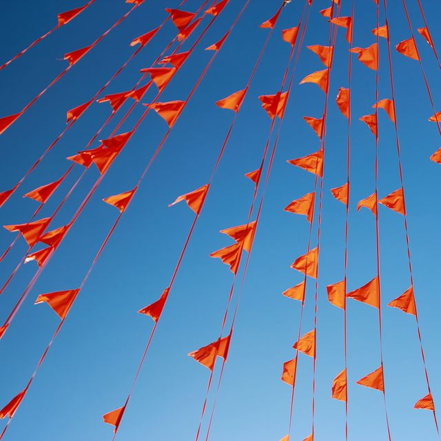 low angle view of orange buntings against clear blue sky