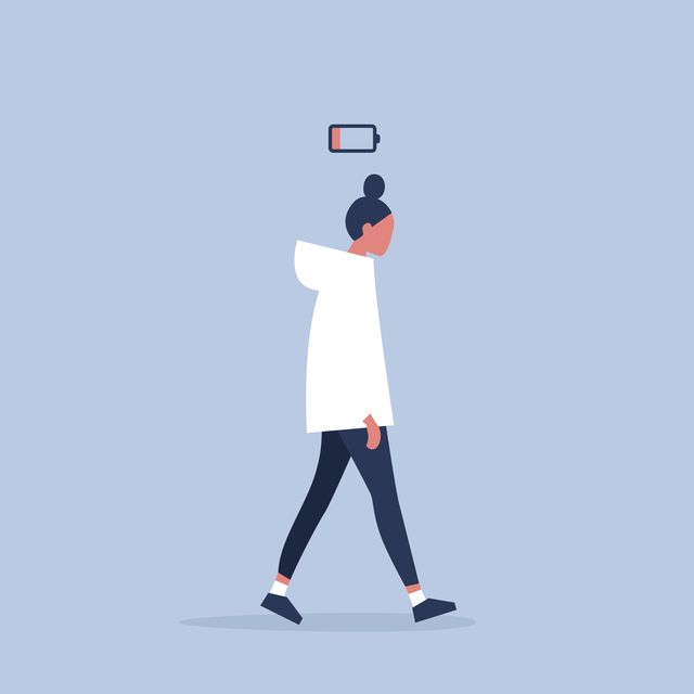 low battery conceptual illustration young female exhausted character modern urban life  flat editable vector illustration