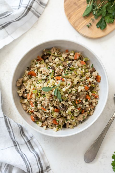 low carb riced cauliflower stuffing