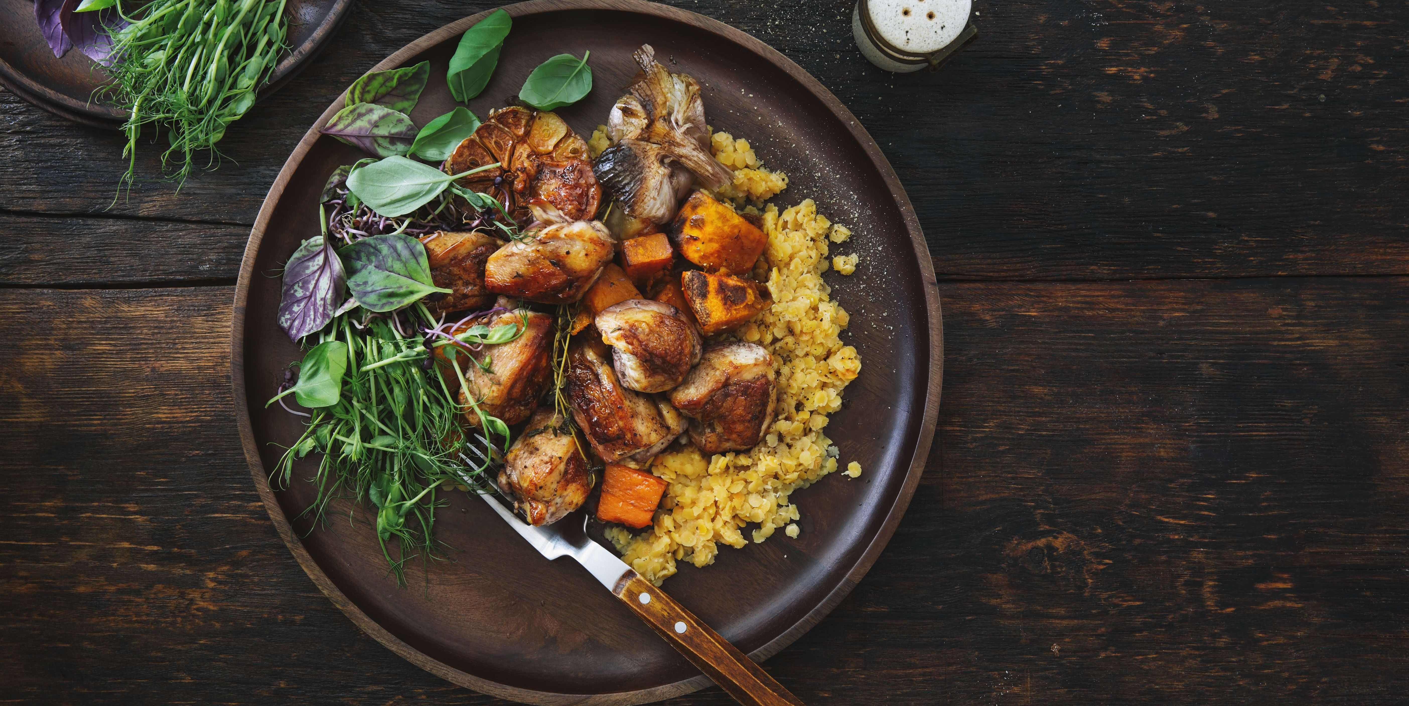 Roasted chicken with pumpkin and lentils