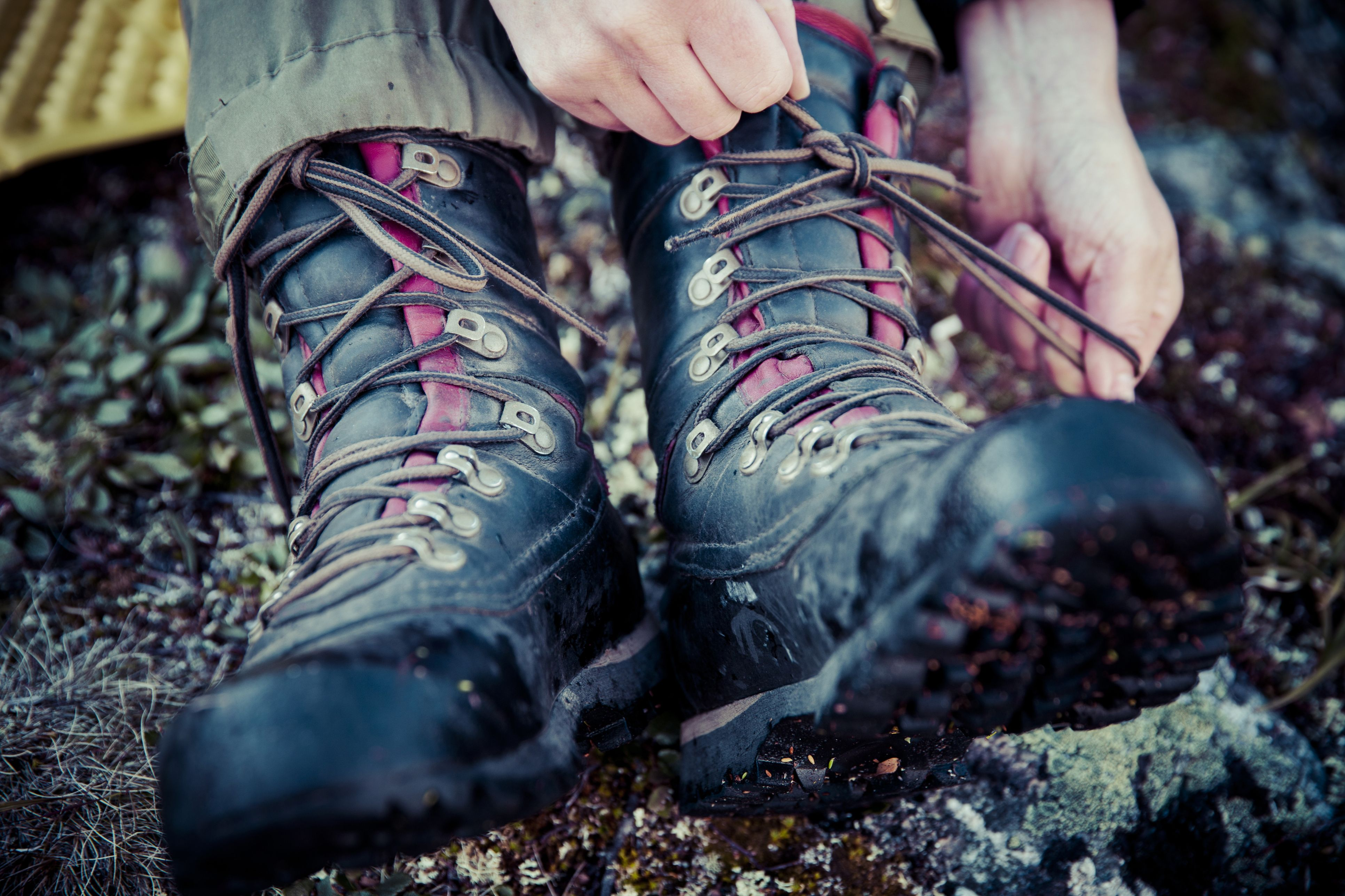 Low section of female hiker tying laces of hiking boots