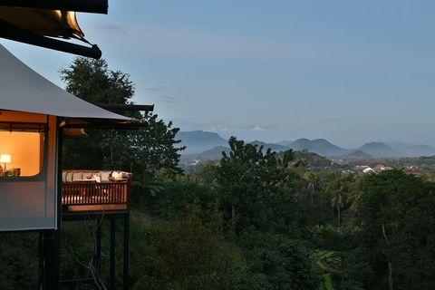 Hill station, Property, Atmospheric phenomenon, Morning, Sky, Tree, House, Mountain, Landscape, Architecture,