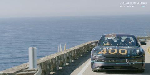 Lucid Air driving along California coast