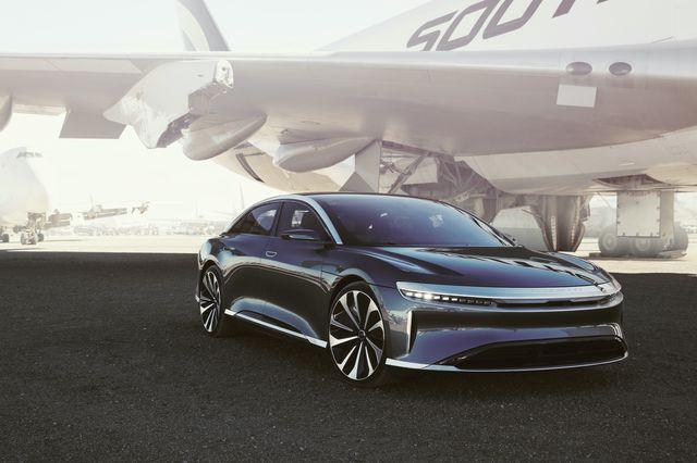 lucid motors air ev with plane
