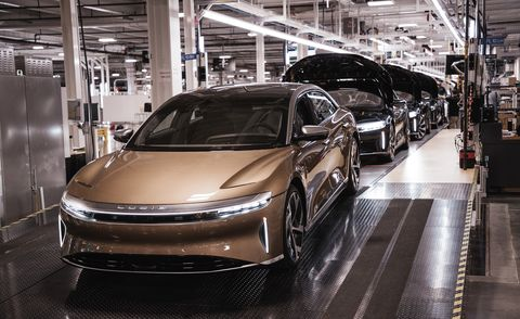 lucid air on production line september 2021