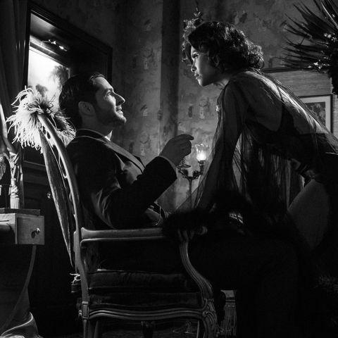 tom ellis as lucifer and lesley ann brandt as maze in lucifer season 5